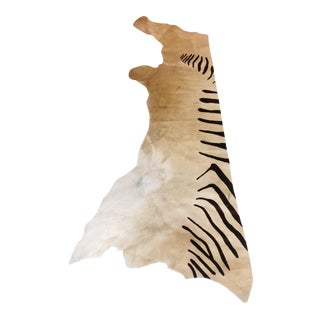 Argentinian Zebra Print Cowhide Rug Throw - 2′ × 6′3″