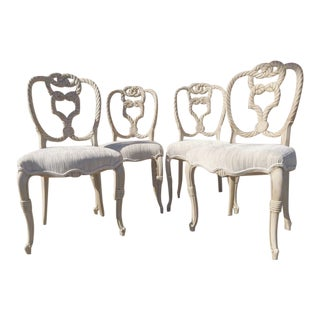 Italian Carved Rope Chairs - Set of 4