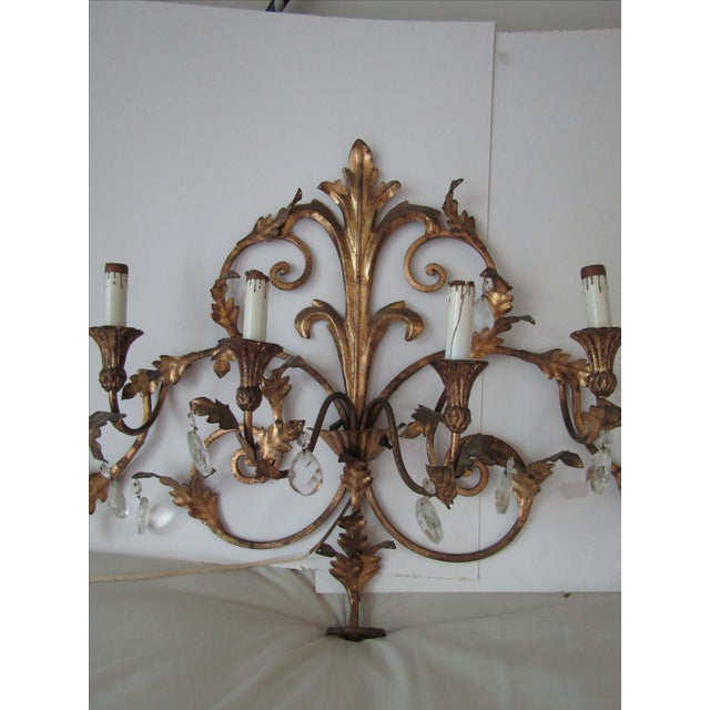 Antique Gold French Luciano Leaf Sconce - Image 3 of 8