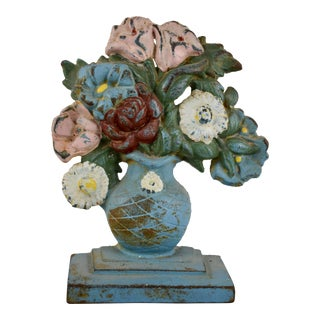 1930s Hubley Cast Iron Blue Urn of Flowers Doorstop