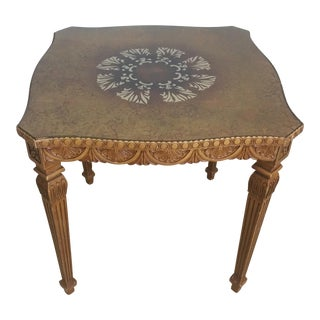 Vintage French Style Hollywood Regency Glass Top Table