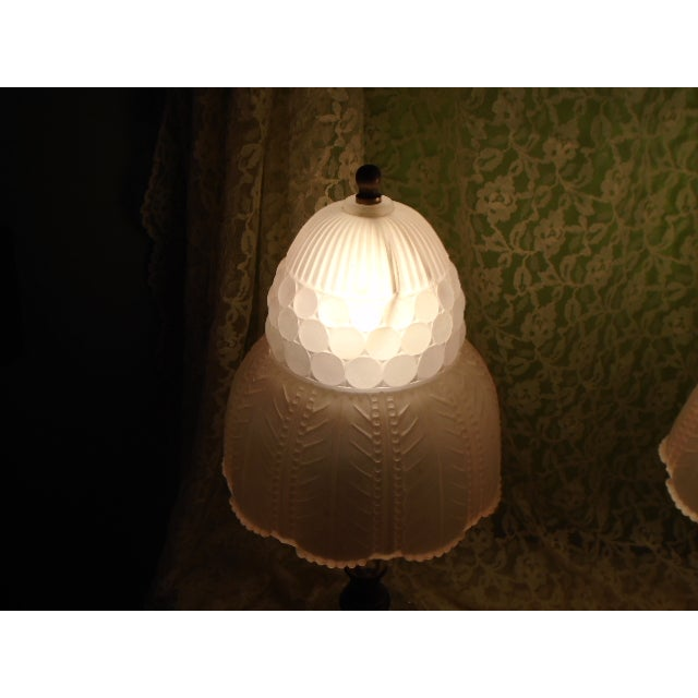 Art Deco Glass Table Lamps - Pair - Image 6 of 9