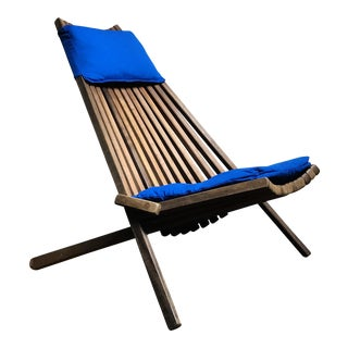 Mid-Century Modern Teak Slatted Folding Chair