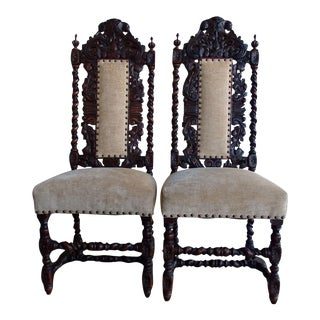Antique Anglo-Indian Rococo Style Carved Chairs - A Pair
