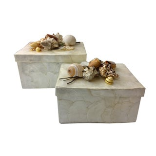 Capiz & Seashells Boxes - A Pair