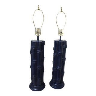 Vintage Faux Bamboo Navy Blue Ceramic Lamps - A Pair