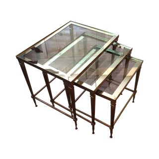 Brass and Glass Nesting Tables - Set of 3