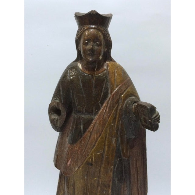 19th Century Carved Wood Religious Sculpture of Saint Agatha - Image 3 of 6