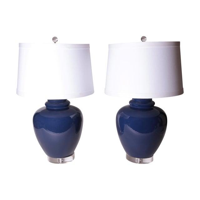 Vintage Cobalt Blue Ginger Jar Lamps - Pair - Image 1 of 6