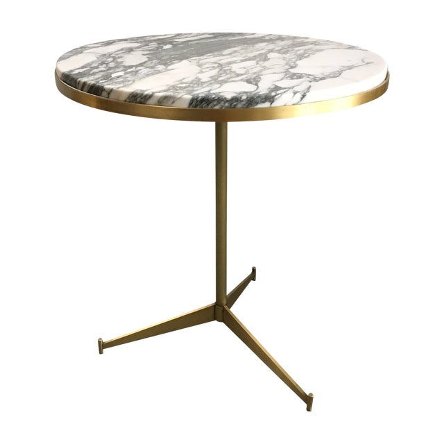 Marble Bistro Accent Table: Paul McCobb White Marble & Brass Side Table
