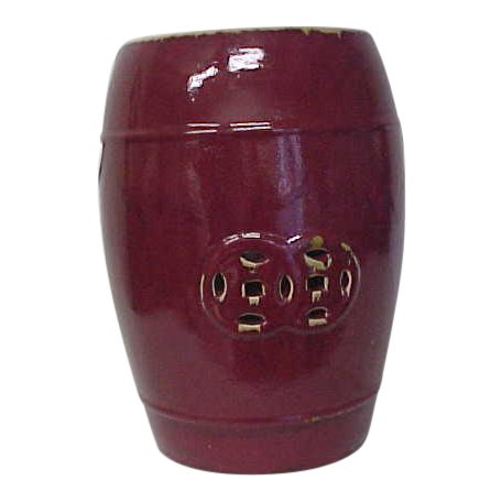Oxblood Ceramic Garden Stool - Image 1 of 5