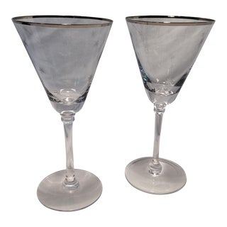 Pair of Etched Atomic Starburst with Silver Rim Glasses
