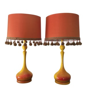 Mid-Century Modern Pom-Pom Fringe Lamps- A Pair