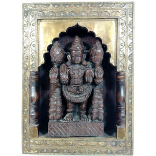 Vintage Wood & Brass Indian Goddess
