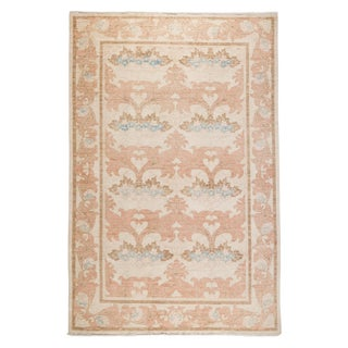 "Contemporary Arts & Crafts Pink Hand-Knotted Rug- 6' 1"" x 9' 4"""