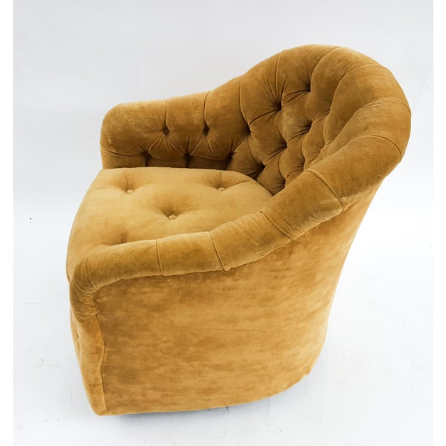 Image of Hollywood Regency Tufted Swivel Chair