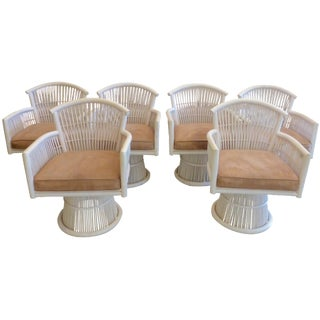 McGuire Swivel Dining Chairs - Set of 6