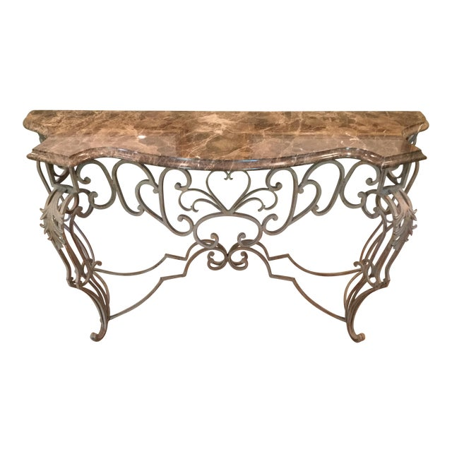 Vintage Marble Top Console - Image 1 of 6