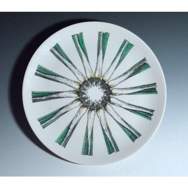 Image of Piero Fornasetti Giri Di Verdure Plate with Leeks.