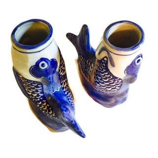 Cobalt Blue Ceramic Koi Fish Bud Vases - Pair