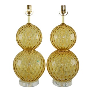Murano Stacked Ball Lamps in Gold