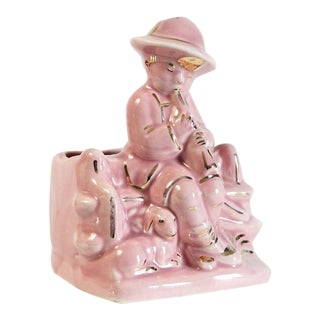 Pink Boy & Sheep Figurine Vase