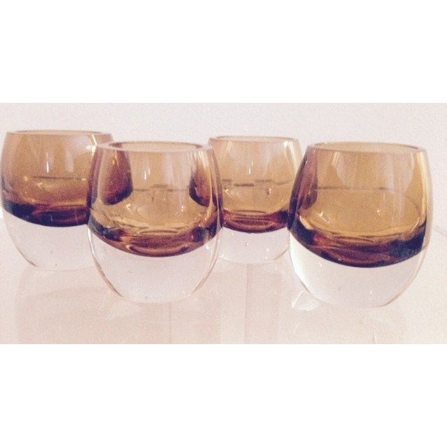 Blown Glass Amber Cognac Glasses - Image 3 of 6