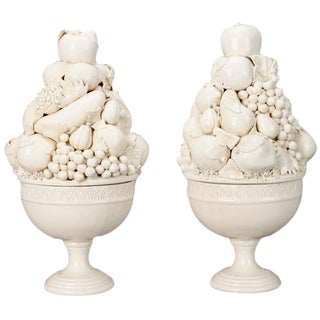 Tall Italian Porcelain Fruit Compotes - A Pair
