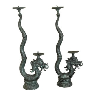 Vintage Green Bronze Dragon Candlesticks - a Pair