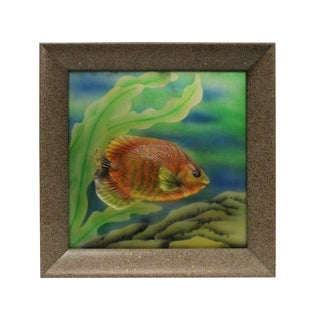 Liuli Glass 3D Under Water Tropical Fish Pattern Framed Wall Decor