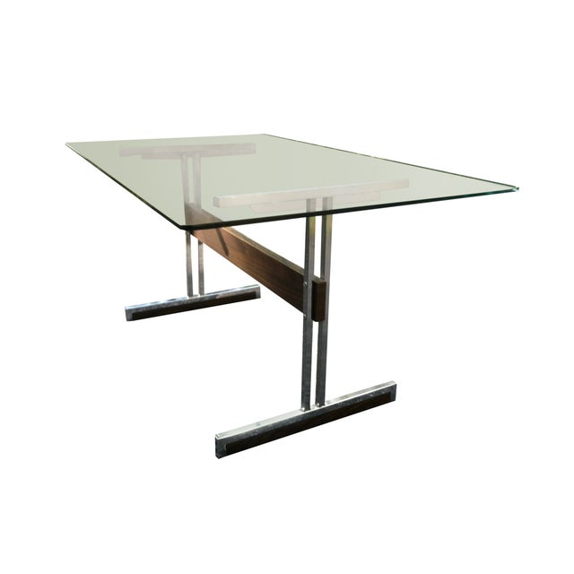 Modern Glass & Chrome Dining Table / Desk - Image 3 of 4