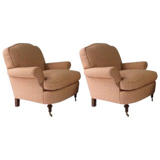 George Smith Style Club Lounge Chairs, Wood Turned Legs on Brass Castors