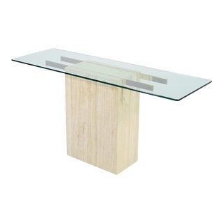Italian Travertine and Glass Console Table by Ello
