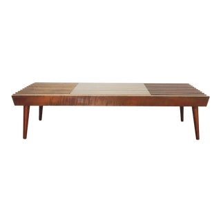 Mid Century Wood Expanding Slatted Bench or Coffee Table