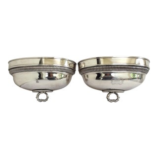 Split Sheffield Silver Dome Wall Planters - A Pair