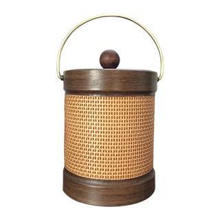 Cane and Faux Wood Ice Bucket
