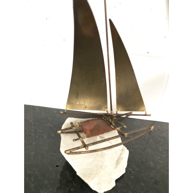 Paul Langton Brutalist Brass Sailboat Sculpture - Image 4 of 4