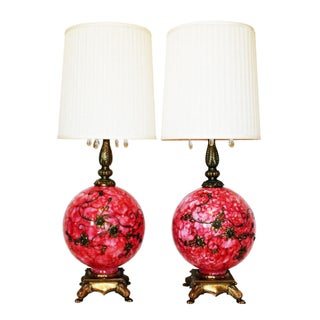 Vintage, Pink Blown Glass & Gold-Gilt Lamps - Pair