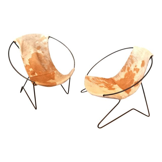 Mid-Century Cowhide Sling Hoop Chairs - Image 1 of 10