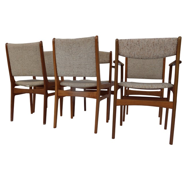 Vintage d scan teak dining chairs set of 6 chairish for Dscan dining room set