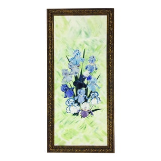 Original Abstract Floral Still Life Painting in Frame