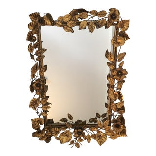 1950s Italian Gilt Flower and Leaf Mirror