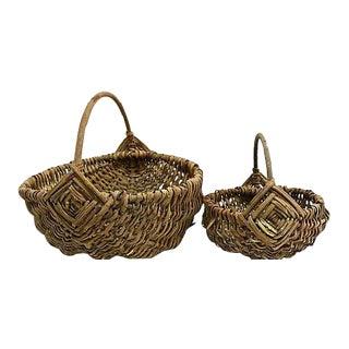 Antique French Market Baskets - Set of 2