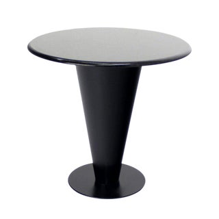 Apollo Woodworking Black Granite Top Heavy Metal Cone Base Cafe Gueridon Table