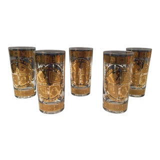 Mid-Century Gold Accent High Glasses - Set of 5