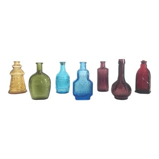 Vintage Miniature Multicolor Glass Bottles - Set of 7