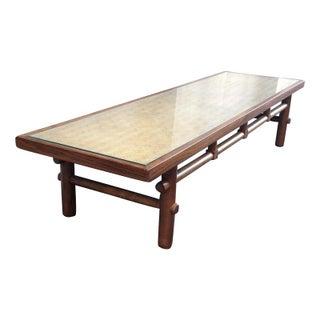 Widdicomb Walnut, Cane & Glass Coffee Table