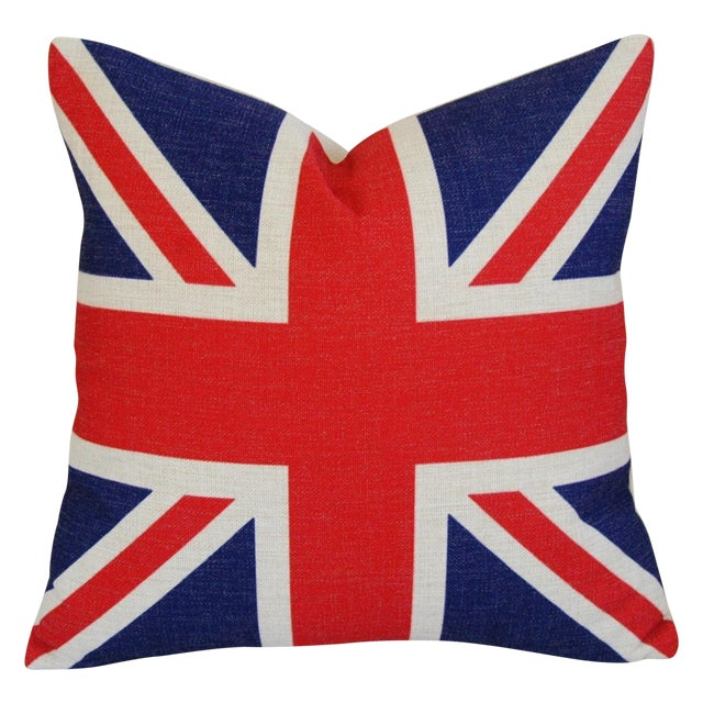 British Union Jack Linen Down/Feather Pillow - Image 1 of 5