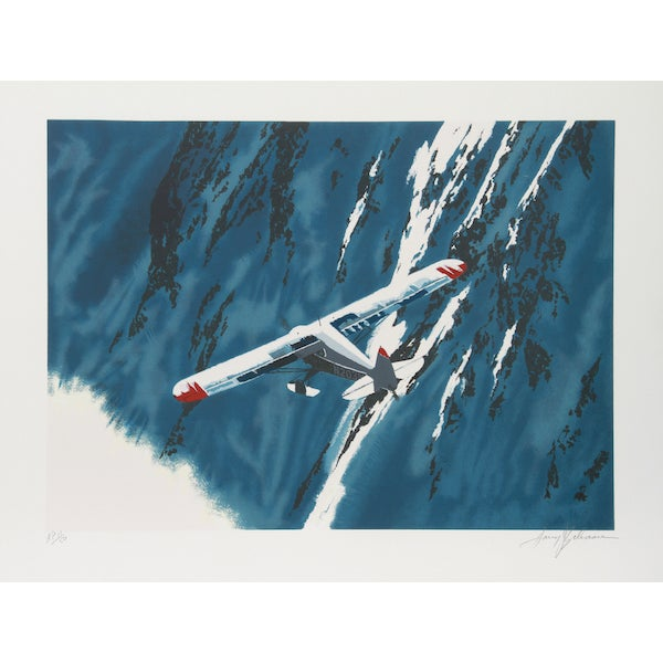 """Image of Harry Schaare, """"First Mountain Flying,"""" Lithograph"""