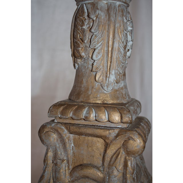 Image of Tall Carved Wood And Gesso Candlesticks - Pair